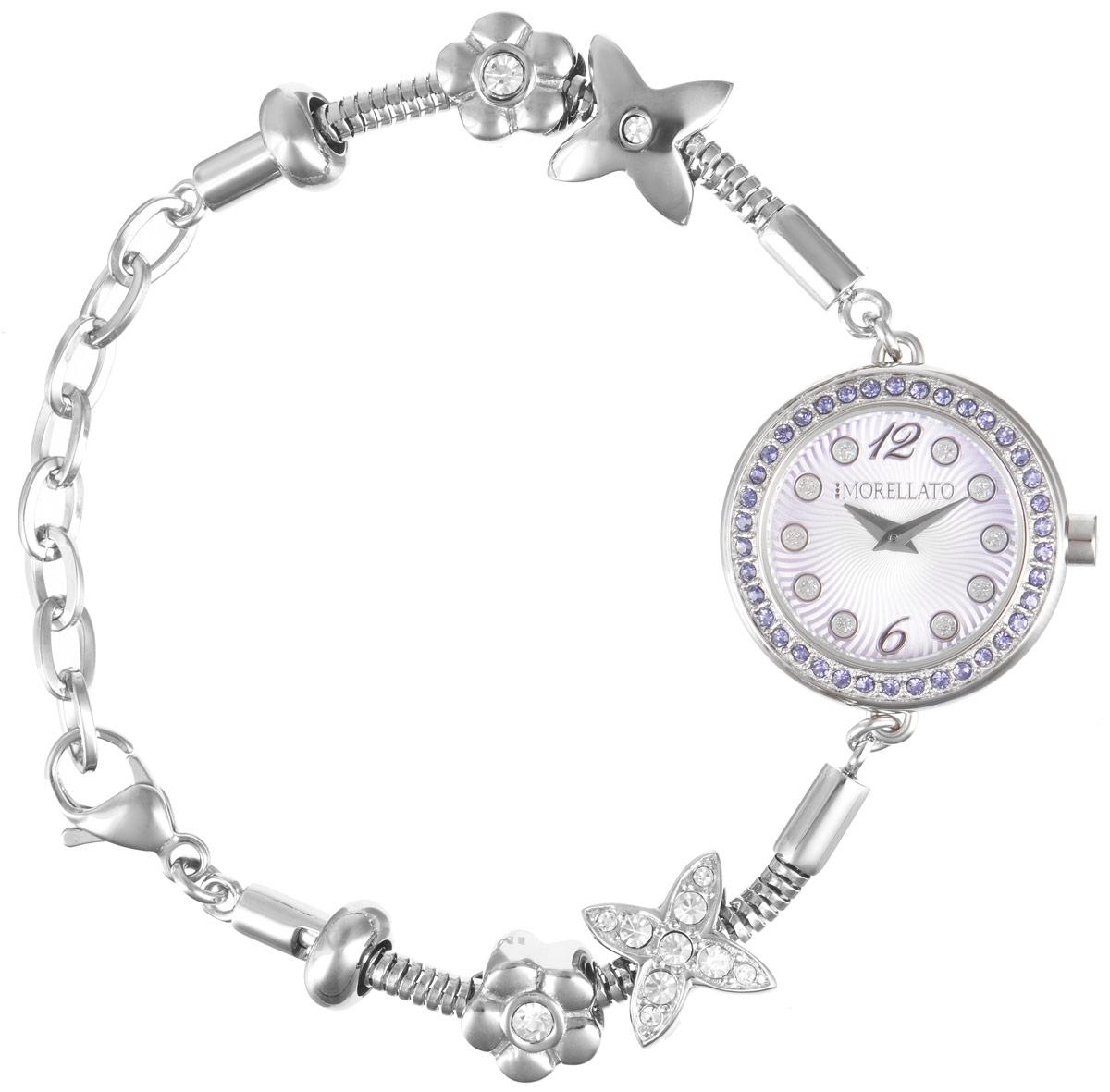 Часы наручные женские Morellato, цвет: серебристый, сиреневый. R0153122519R0153122519Изысканные женские часы Morellato изготовлены из высокотехнологичной гипоаллергенной нержавеющей стали. Ремешок выполнен из нержавеющей стали с PVD-покрытием. Кварцевый механизм имеет степень влагозащиты равную 3 Bar и дополнен часовой и минутной стрелками. Циферблат часов инкрустирован стразами. Браслет выполнен из соединяющихся между собой элементов в стиле Пандора, инкрустированных цирконами. Для того чтобы защитить циферблат от повреждений в часах используется высокопрочное минеральное стекло. На циферблате отметки в виде точек органично сочетаются с маленькими стрелками. Браслет комплектуется надежным и удобным в использовании замком-карабином, который позволит с легкостью снимать и надевать часы. Часы упакованы в фирменную коробку и дополнительно в подарочную коробку с названием бренда. Часы Morellato подчеркнут изящность женской руки и отменное чувство стиля у их обладательницы.