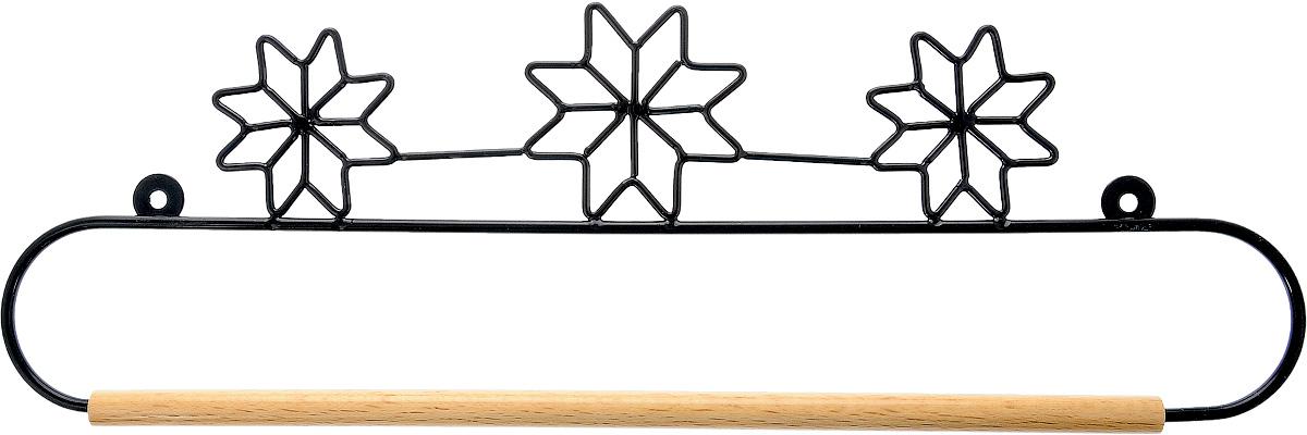 Хангер фигурный Hemline, для панно из квилтинга и вышивки, 36 смERQH31.14BLKФигурный хангер Hemline предназначен для работы с панно из квилтинга и вышивки. Изделие выполнено из прочного металла и натурального дерева. Чтобы открыть хангер, вытяните конец проволоки из деревянного дюбеля, закрепите панно, вставьте конец проволоки обратно в деревянный дюбель. Закрепите хангер на стене с помощью винтов (в комплект не входят).