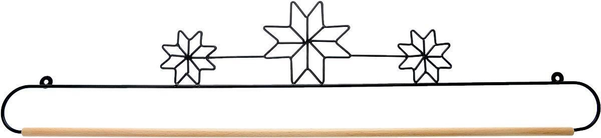 Хангер фигурный Hemline, для панно из квилтинга и вышивки, 66 смERQH31.26BLKФигурный хангер Hemline предназначен для работы с панно из квилтинга и вышивки. Изделие выполнено из прочного металла и натурального дерева. Чтобы открыть хангер, вытяните конец проволоки из деревянного дюбеля, закрепите панно, вставьте конец проволоки обратно в деревянный дюбель. Закрепите хангер на стене с помощью винтов (в комплект не входят).