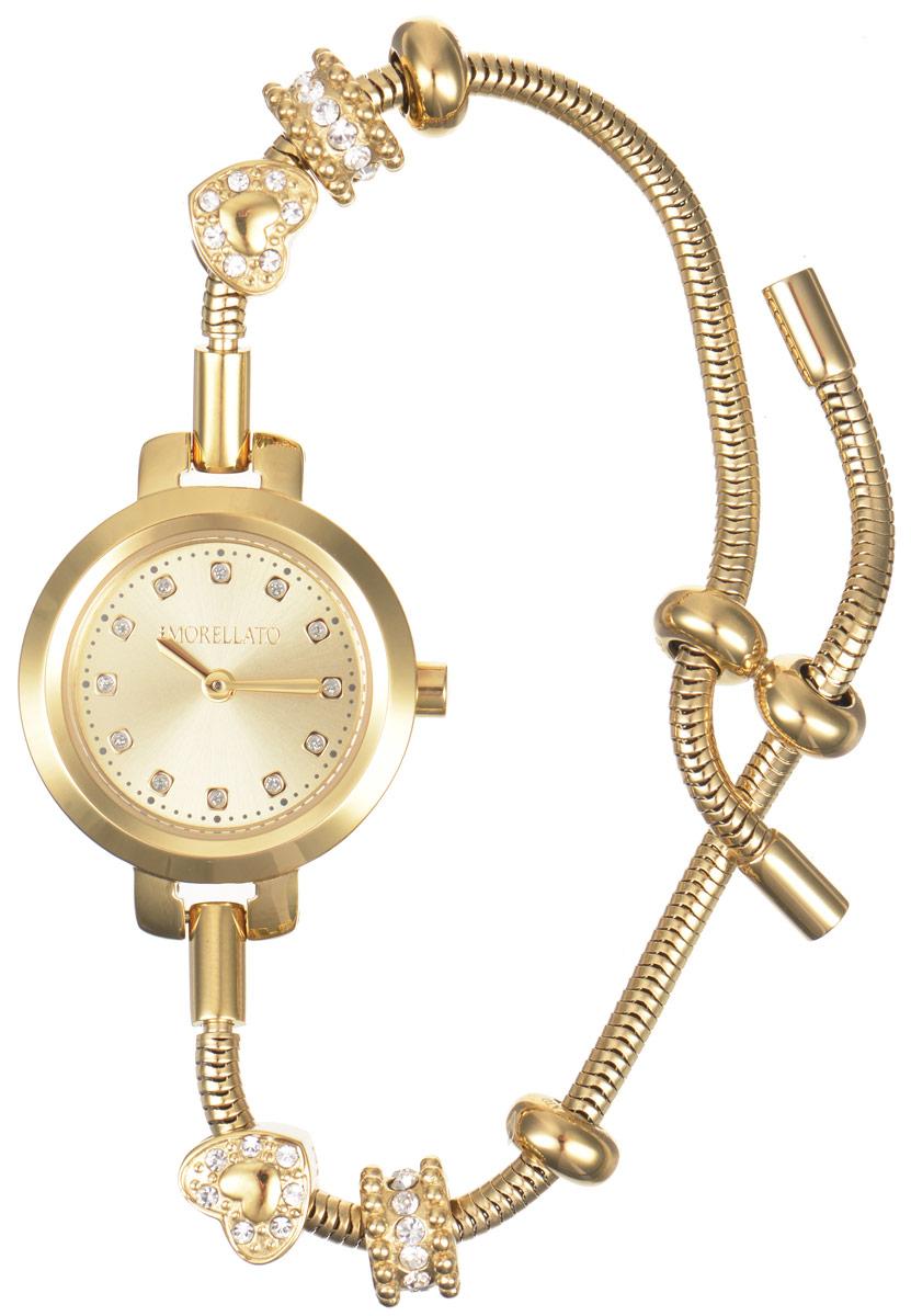 Часы наручные женские Morellato, цвет: золотой. R0153122545R0153122545Изысканные женские часы Morellato изготовлены из высокотехнологичной гипоаллергенной нержавеющей стали. Ремешок выполнен из нержавеющей стали с PVD-покрытием. Кварцевый механизм имеет степень влагозащиты равную 3 Bar и дополнен часовой и минутной стрелками. Циферблат часов инкрустирован стразами. Браслет выполнен из соединяющихся между собой элементов в стиле Пандора, инкрустированных цирконами. Для того чтобы защитить циферблат от повреждений в часах используется высокопрочное минеральное стекло. На золотом циферблате отметки в виде точек органично сочетаются с маленькими стрелками. Браслет затягивается и комплектуется надежным и удобным в использовании замком-шнурком, который позволит с легкостью снимать и надевать часы, менять размер браслета. Часы упакованы в фирменную коробку и дополнительно в подарочную коробку с названием бренда. Часы Morellato подчеркнут изящность женской руки и отменное чувство стиля у их обладательницы.