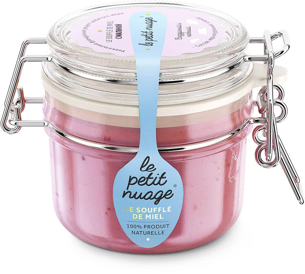 Le Petit Nuage мед-суфле с малиной, 215 гУПП00005471Мед-суфле Le Petit Nuage с малиной - яркое сочетание. Аромат малины погружает в атмосферу комфорта, в воспоминание о фруктовом мороженом и детстве. Этот мед радует глаз своим нежно-розовым цветом и медово- малиновым вкусом. Медовое суфле сохраняет всю полезность меда и малины.