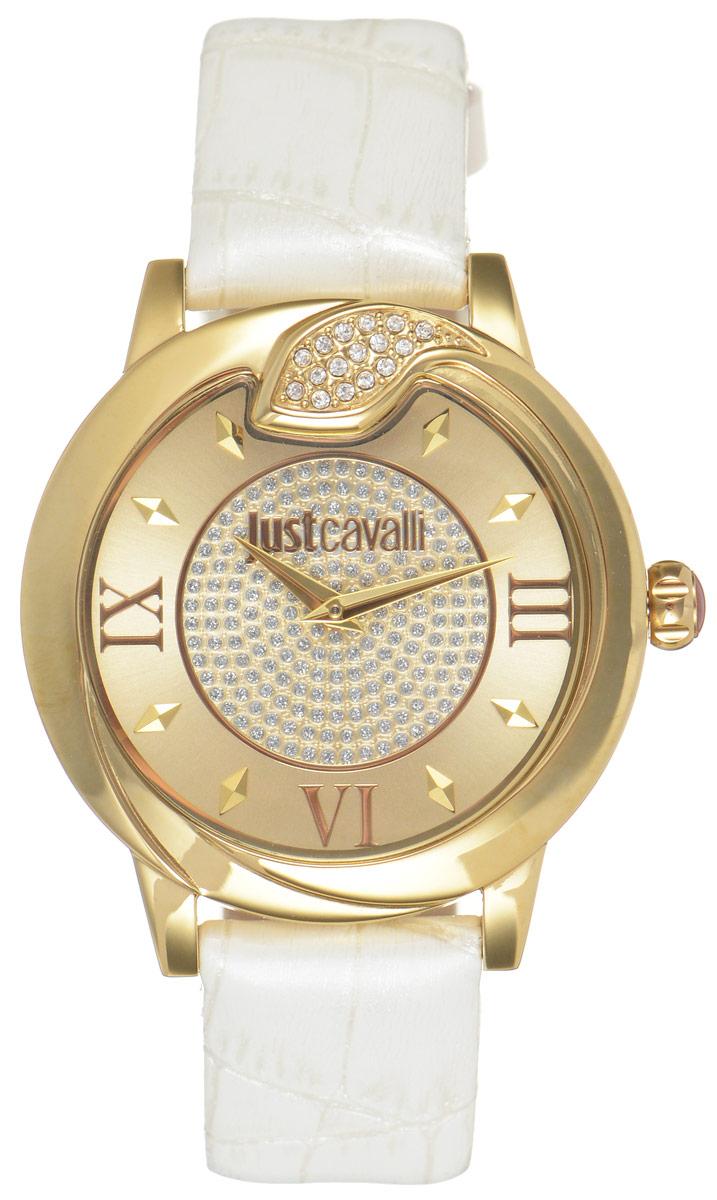 Часы наручные женские Just Cavalli, цвет: белый. R7251598502R7251598502Наручные женские часы Just Cavalli произведены из материалов самого высокого качества на базе новейших технологий. Они оснащены точным кварцевым механизмом. Корпус часов изготовлен из нержавеющей стали с полной позолотой, циферблат инкрустирован стразами, оформлен оригинальной змейкой, как бы извивающейся вокруг корпуса, и защищен минеральным стеклом. Ремешок выполнен из натуральной лаковой кожи с тиснением под крокодила и оснащен классической застежкой-пряжкой. Циферблат круглой формы оснащен римскими цифрами и отметками, а так же двумя стрелками - часовой и минутной. Часы являются водостойкими - 3АТМ. Изделие укомплектовано в стильную фирменную коробку с названием бренда. Часы Just Cavalli подчеркнут изящность женской руки и отменное чувство стиля у их обладательницы.