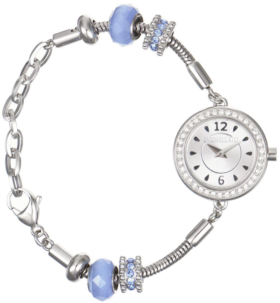 Часы наручные женские Morellato, цвет: серебристый. R0153122542R0153122542Изысканные женские часы Morellato изготовлены из высокотехнологичной гипоаллергенной нержавеющей стали. Ремешок выполнен из нержавеющей стали с PVD-покрытием и оснащен практичной застежкой-карабином. Кварцевый механизм имеет степень влагозащиты равную 3 Bar и дополнен часовой и минутной стрелками. Корпус часов украшен ободком из цирконов. Браслет выполнен из соединяющихся между собой элементов в стиле Пандора, инкрустированных цирконами. Для того чтобы защитить циферблат от повреждений в часах используется высокопрочное минеральное стекло. На белом циферблате отметки в виде точек органично сочетаются с маленькими стрелками. Браслет комплектуется надежным и удобным в использовании замком-карабином, который позволит с легкостью снимать и надевать часы. Часы упакованы в фирменную коробку и дополнительно в подарочную коробку с названием бренда. Часы Morellato подчеркнут изящность женской руки и отменное чувство стиля у их обладательницы.
