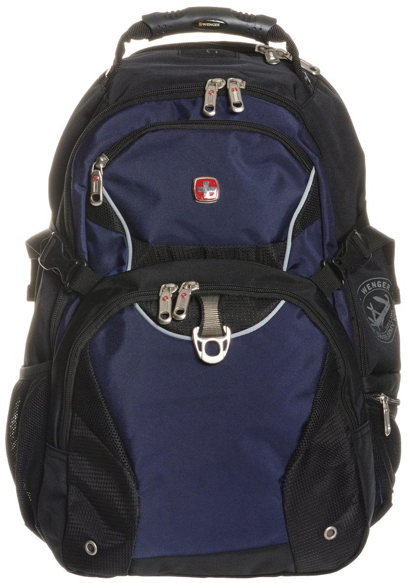 Рюкзак Wenger, цвет: черный, синий, 36 х 19 х 47 см, 32 л3263203410Рюкзак Wenger - это самодостаточный, многофункциональный и надежный спутник своего владельца, как и знаменитый швейцарский нож! Благодаря многофункциональности рюкзака Wenger, вы можете легко организовать свои вещи, отправив ключи, мобильный телефон и еще тысячу мелочей в специальный карман-органайзер, положив ноутбук в надежный мягкий карман под спинкой. После этого останется еще много места для других необходимых вещей. Рюкзаки и сумки Wenger - это прежде всего современные материалы и фурнитура от надежных поставщиков и швейцарский контроль качества, благодаря которому репутация компании была и остается столь высокой. Продуманная конструкция и современные технологии проявляются главным образом в потрясающей надежности рюкзаков и сумок Wenger. А ведь надежность - самое важное качество и в амуниции, и в людях! Особенности рюкзака: Мягкое отделение для ноутбука: регулируемый ремень на липучке подходит для большинства ноутбуков с диагональю 15 дюймов, карманы из...