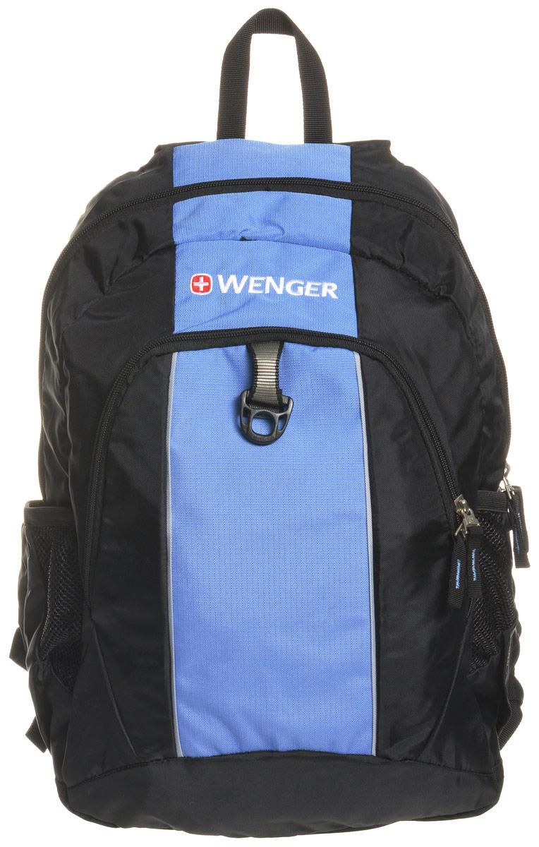 Рюкзак городской Wenger SA1722, цвет: черный, голубой, 20 л17222315Рюкзак туристический Wenger имеет прекрасную эргономику и инновационный стильный дизайн. Коллектив дизайнеров и технологов проделали огромную совместную работу позволившую воплотить в реальность свои самые смелые разработки. Рюкзак данной модели является супер удобным, при этом он имеет прекрасный внешний вид, что очень трудно совместить в изделиях данного назначения. Особенности: Эргономичные ремни анатомической формы разработанные с дополнительным уплотнением для удобства и контроля. Внешние двойные карманы из эластичной сетки удобны для бутылок различного размера. Внутренний карман подходит для большинства MP3 плееров с внешним портом для наушников. Внутренний карман-органайзер включает съемную ключницу и разделительные кармашки для ручек, карандашей, мобильного телефона с CD дисков.