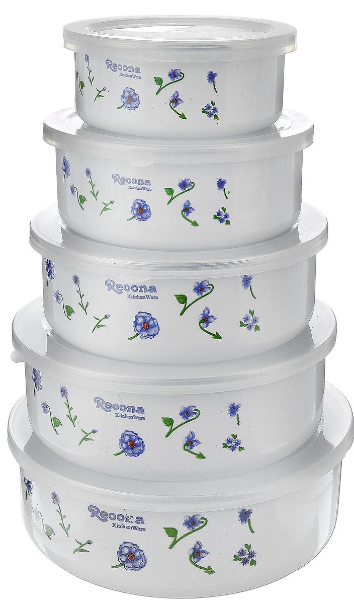 Набор эмалированных мисок Calve, с крышками, 10 предметов. CL-7002CL-7002_белый, зеленый, сиреневыйНабор Calve состоит из 5 круглых мисок разного размера, выполненных из высококачественной стали с эмалированным покрытием. Миски снабжены пластиковыми, плотно прилегающими крышками. Внешние стенки мисок декорированы красочным изображением. Миски являются универсальным приобретением для любой кухни. С их помощью можно готовить блюда, смешивать жидкости и продукты, хранить пищу и соусы без проливания, а также сервировать стол. Оригинальный дизайн, высокое качество и функциональность набора Calve позволят ему стать достойным дополнением к вашему кухонному инвентарю. Можно мыть в посудомоечной машине. Диаметр мисок (по верхнему краю): 10,5 см; 12,5 см; 14,2 см; 16 см; 18 см. Высота стенок (без учета крышек): 4,5 см; 5 см; 5,5 см; 5,8 см; 6 см. Объем мисок: 200 мл; 250 мл; 450 мл; 800 мл; 1 л.