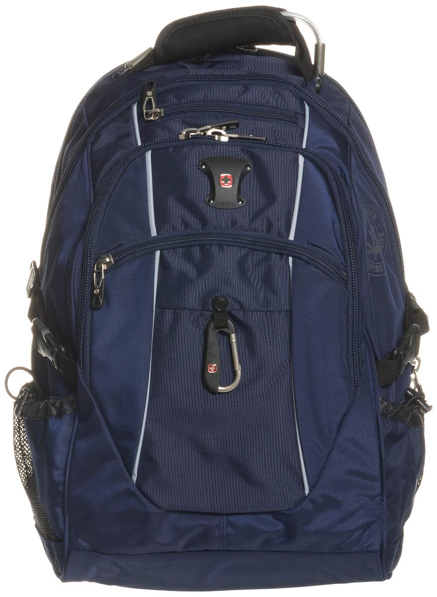 Рюкзак городской Wenger, цвет: синий, серебристый, 38 л6677303408Высококачественный и стильный, надежный и удобный, а главное прочный рюкзак Wenger. Благодаря многофункциональности данный рюкзак позволяет удобно и легко укладывать свои вещи. Особенности рюкзака: 3 внешних кармана на молнии 2 внешних регулируемых сетчатых кармана для бутылок с водой Боковая молния для быстрого доступа к ноутбуку Большое основное отделение Внешний карабин Внутренний карман на молнии Возможность крепления на чемодане Отделение для 17 ноутбука с системой ScanSmart Карман-органайзер для мелких предметов Металлические застежки молний с пластиковыми вставками Мягкая перегородка отделения для ноутбука Карман на липучке для планшетного компьютера с диагональю до 38 см Внутренне отстегивающееся кольцо для ключей Петля для очков Поясничная поддержка рюкзака Регулируемые плечевые ремни Внутренний сетчатый карман на молнии для хранения аксессуаров ноутбука ...