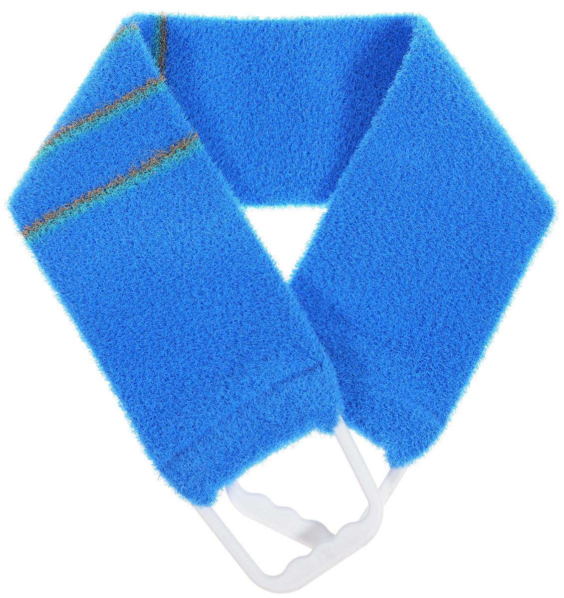 Мочалка-пояс массажная Riffi, жесткая, цвет: синий, 80 х 11 см