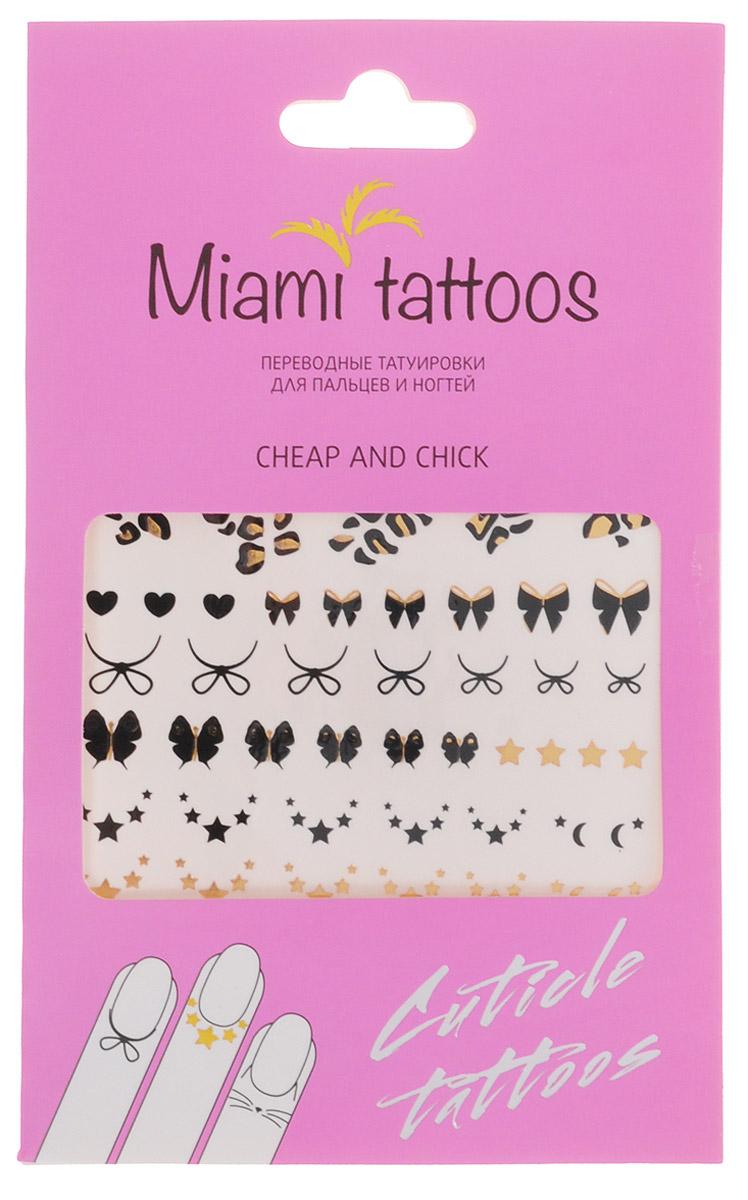 Miami Tattoos Флэш тату для пальцев и ногтей Miami Tattoos Cheap & Chick 1 лист 10 см х 15 смMT0004Miami Tattoos - это дизайнерские переводные тату-украшения. Оригинальные тату для кутикул - это ультрамодное дополнение к вашему маникюру! Они не только эффектно смотрятся, но еще и визуально вытягивают ногти, делая их более изящными. Для производства Miami Tattoos используются только качественные,?яркие?и?стойкие?краски. Они?не вызывают аллергию и держатся?до семи?дней!