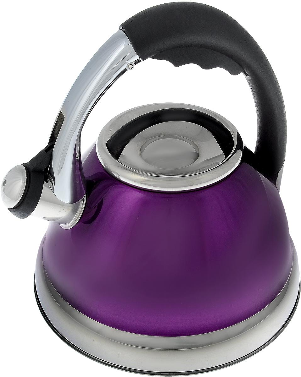 Чайник Calve, со свистком, цвет: фиолетовый, черный, стальной 2,6 лCL-1463_фиолетовыйЧайник Calve изготовлен из высококачественной нержавеющей стали. Нержавеющая сталь обладает высокой устойчивостью к коррозии, не вступает в реакцию с холодными и горячими продуктами и полностью сохраняет их вкусовые качества. Особая конструкция дна способствует высокой теплопроводности и равномерному распределению тепла. Чайник оснащен удобной бакелитовой ручкой с кнопкой-закрепителем положения носика. Носик чайника имеет откидной свисток, звуковой сигнал которого подскажет, когда закипит вода. Можно мыть в посудомоечной машине. Диаметр чайника (по верхнему краю): 10 см. Диаметр основания: 17 см. Высота чайника (с учетом ручки): 23,5 см.