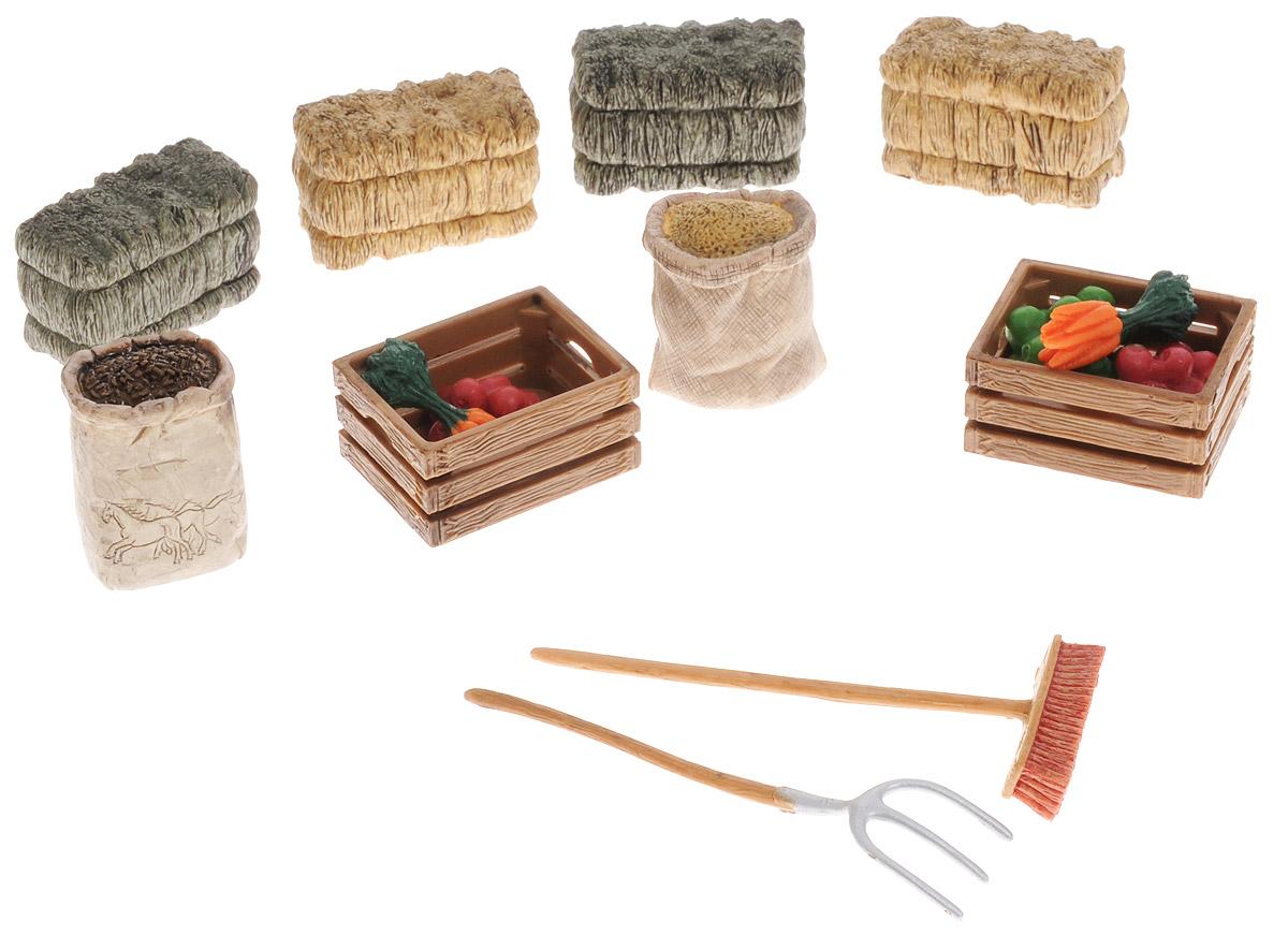 Schleich Игровой набор для кормления лошадей 4210542105Набор для кормления лошадей Schleich поможет сделать игру еще более увлекательной, а жизнь на игрушечной ферме полноценной и удобной. В наборе представлены: деревянные ящики с фруктами, мешки с зерном, тюки с сеном и соломой, пучки моркови, вилы и метла. Все игрушки из набора выполнены из качественного каучукового пластика с мельчайшей прорисовкой деталей. Игровые элементы имеют реалистичный внешний вид, приятны на ощупь и позволяют детям играть с большим удовольствия. В процессе манипуляций с миниатюрными игрушками у ребенка развивается мелкая моторика, стимулируется развитие речи, логическое мышление, ребенок знакомится с окружающим миром.