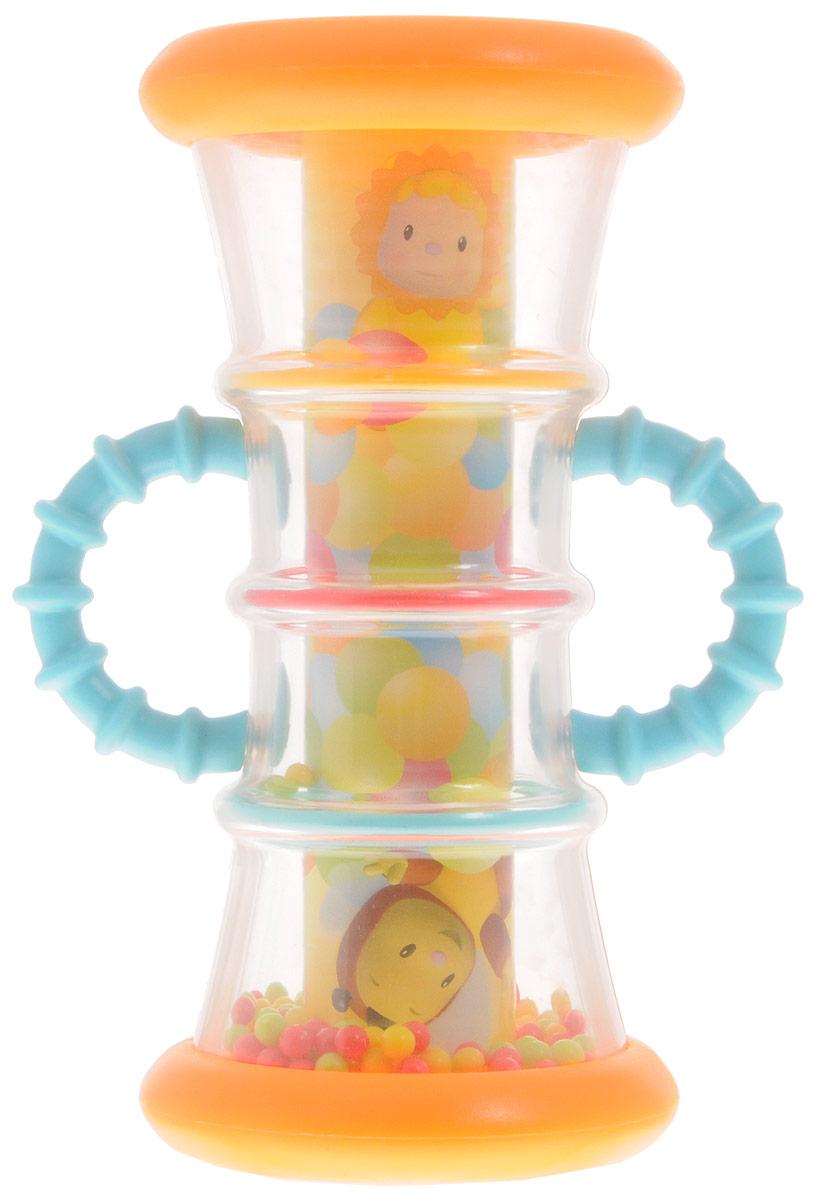 Smoby Погремушка-калейдоскоп211315Погремушка-калейдоскоп от компании Smoby - настолько оригинальная игрушка, что даже родители захотят с нею поиграть! Ведь это не только погремушка, но и песочные часики, а позабавиться чудесами калейдоскопа - это просто огромное удовольствие. Попробуйте перевернуть игрушку в одну сторону, и малыш увидит, что маленькие яркие шарики пересыпаются в другую сторону прозрачной колбы. Погремушка дополнена двумя рельефными ручками. Удобная форма игрушки позволит малышу с легкостью взять и держать ее, а приятный звук погремушки порадует и заинтересует его. Игрушка поможет развить цветовое восприятие, тактильные ощущения и мелкую моторику рук ребенка, а элемент погремушки поспособствует развитию слуха.