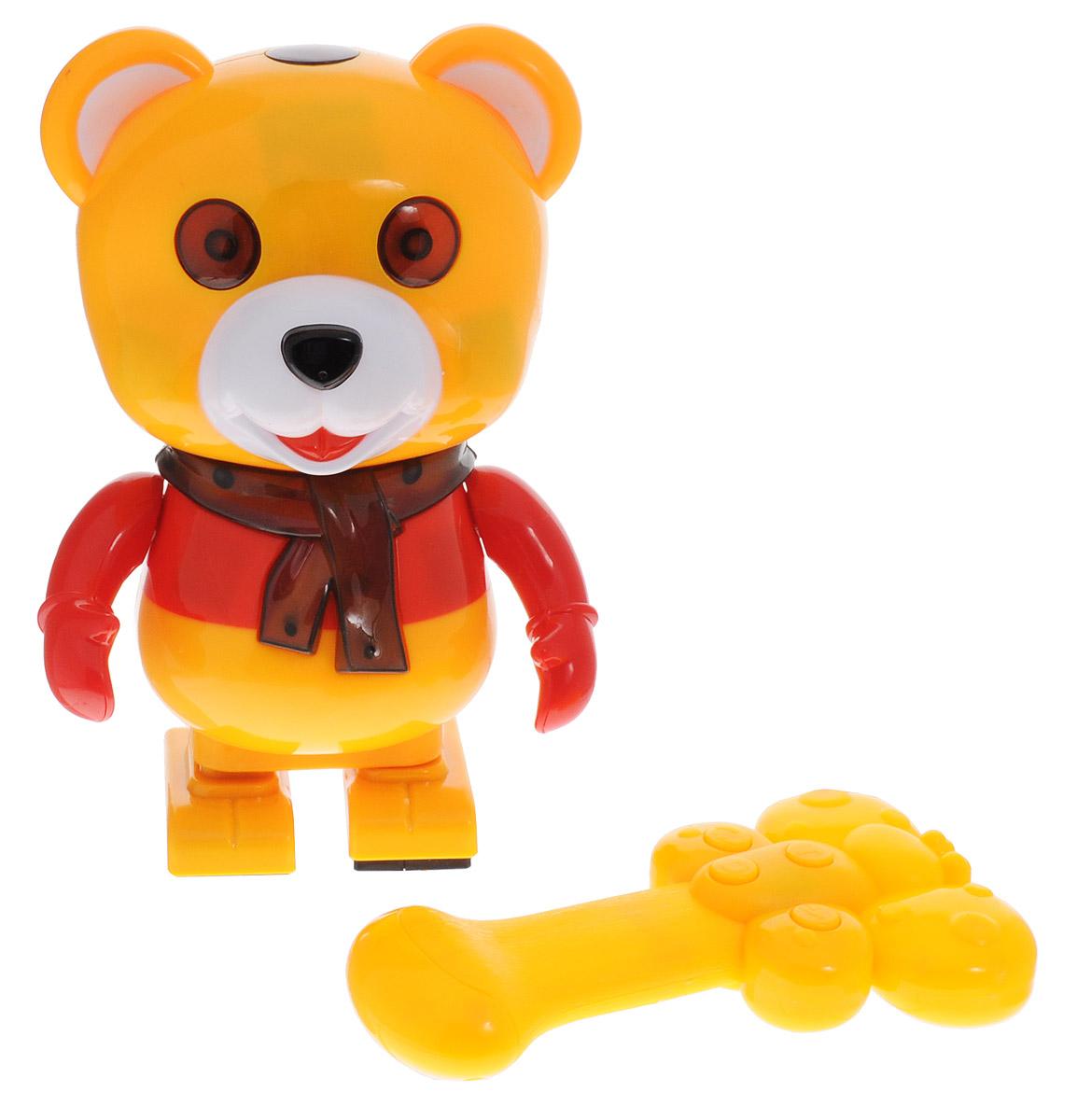 Tongde Интерактивная игрушка Медвежонок СэммиT42-D166/2084Интерактивная игрушка Tongde Медвежонок Сэмми обязательно понравится вашему малышу. Игрушка способствует развитию моторики, памяти и слухового восприятия. Сэмми реагирует на прикосновения, если потрогать его голову, ушки, щеки, животик, бока и хвост. Двигается под музыку, произносит фразы. Если дотронуться до головы, он скажет - Ай, это же моя голова, а не футбольный мячик! До щек - Здесь я прячу еду - не трогай. До боков - Ой, щекотно-щекотно! Ха-Ха! До живота - Ай, больно ведь, я же не деревянный! До хвоста - Ай! Не оторви мой хвостик! Медвежонок работает от пульта управления (стоп/движение под песню, движение вперед, сказки, поворот на 360 градусов). Для работы медвежонка необходимо купить 3 батарейки типа АА (не входят в комплект). Для работы пульта управления необходимо купить 2 батарейки типа АА (не входят в комплект).
