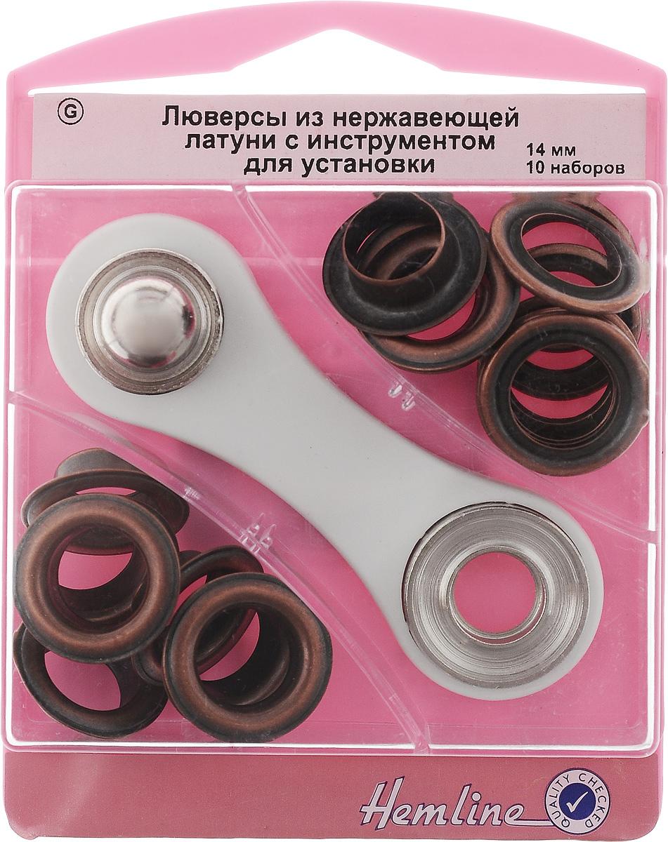 Люверсы Hemline, с инструментом для установки, цвет: бронза, тип G, диаметр 14 мм, 10 наборов438P.14.BRЛюверсы Hemline предназначены для укрепления краев отверстий, использующихся для продевания веревок, шнуров, тесьмы, тросов, а также декорирования вещей. Предназначены для средних и легких вещей. Выполнены из нержавеющей латуни. В комплекте 10 наборов люверсов, каждый из которых состоит из двух элементов, и специальный инструмент для их установки. Для обеспечения толщины между слоями ткани не менее 1-2 мм рекомендуется использовать подкладочную ткань. Внимание! Слишком сильные удары молотка могут повредить поверхность люверсов. Всегда работайте на плоской твердой поверхности, защищенной куском картона. Люверсы хранятся в удобном пластиковом контейнере многоразового использования. Внутренний диаметр люверсов: 14 мм. Внешний диаметр люверсов: 22 мм. Размер инструмента: 9 х 3 х 1 см.