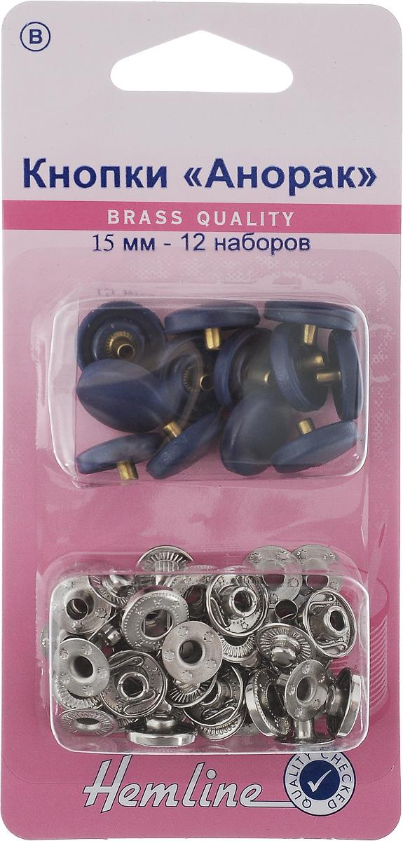 Кнопки Hemline Анорак, цвет: темно-синий, стальной, диаметр 15 мм, 12 наборов. 404404R.NYКнопки Hemline Анорак, выполненные из металла с пластиковыми декоративными шапочками, предназначены для крупных и тяжелых тканей. Для обеспечения толщины между слоями ткани не менее 1-2 мм используйте подкладочную ткань. В одной упаковке 12 наборов, каждый из которых состоит из 4 элементов. На обратной стороне упаковки представлена подробная инструкция по установке кнопок. Диаметр кнопки: 15 мм.