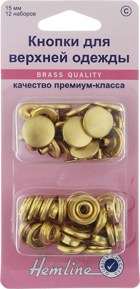 Кнопки для верхней одежды Hemline, цвет: золото, диаметр 15 мм, 12 наборов405R.GКнопки Hemline, выполненные из металла, предназначены для крупных и тяжелых вещей. Для обеспечения толщины между слоями ткани не менее 1-2 мм используйте подкладочную ткань. В одной упаковке 12 наборов, каждый из которых состоит из 4 элементов. На оборотной стороне имеется инструкция. Диаметр кнопки: 15 мм.