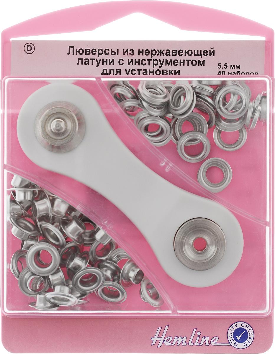 Люверсы Hemline, с инструментом для установки, цвет: никель, тип D, диаметр 5,5 мм, 40 наборов438P.5.NЛюверсы Hemline предназначены для укрепления краев отверстий, использующихся для продевания веревок, шнуров, тесьмы, тросов, а также декорирования вещей. Предназначены для средних и легких вещей. Выполнены из нержавеющей латуни. В комплекте 40 наборов люверсов, каждый из которых состоит из двух элементов, и специальный инструмент для их установки. Для обеспечения толщины между слоями ткани не менее 1-2 мм рекомендуется использовать подкладочную ткань. Внимание! Слишком сильные удары молотка могут повредить поверхность люверсов. Всегда работайте на плоской твердой поверхности, защищенной куском картона. Люверсы хранятся в удобном пластиковом контейнере многоразового использования. Внутренний диаметр люверсов: 5,5 мм. Внешний диаметр люверсов: 11 мм. Размер инструмента: 9 х 3 х 1 см.