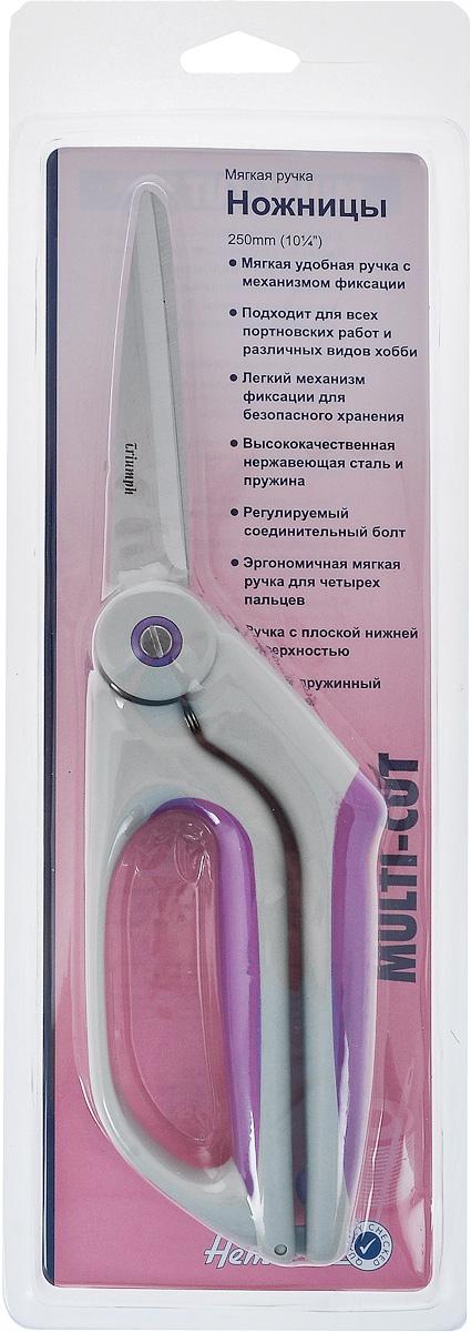 Ножницы Hemline Multi-Cut, длина 25 см389Ножницы Hemline Multi-Cut специально разработаны для всех видов работ с ножницами. Используются для разрезания тканей, бумаги, для общего домашнего назначения, подходят для всех видов портновских работ и различных видов хобби. Лезвия и пружина выполнены из качественной нержавеющей стали. Соединительный болт позволяет регулировать напряжение. Эргономичные длинные ручки с прорезиненным покрытием удобно лежат в руке и обеспечивают комфорт при работе. Легкий механизм фиксации в закрытой позиции идеален для безопасного хранения. Такие ножницы не только отлично подойдут для рукоделия, но и пригодятся для различных бытовых нужд. Длина ножниц: 25 см. Длина лезвий: 9 см.