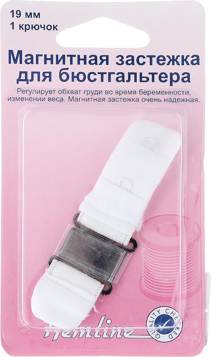 Магнитная застежка для бюстгальтера Hemline, 1 крючок, цвет: белый, ширина 19 мм777.19.WМагнитная застежка для бюстгальтера Hemline изготовлена из текстиля, имеет 2 ряда петелек и металлический крючок. Изделие предназначено для изготовления или ремонта бюстгальтеров. Такая застежка регулирует обхват груди во время беременности или при изменении веса. Застежка легкая и удобная в использовании, не пришивная - благодаря магниту просто достаточно пристегнуть ее. Не подходит для тех, кто носит электронный стимулятор сердца. Ширина: 19 мм. Количество крючков: 1.