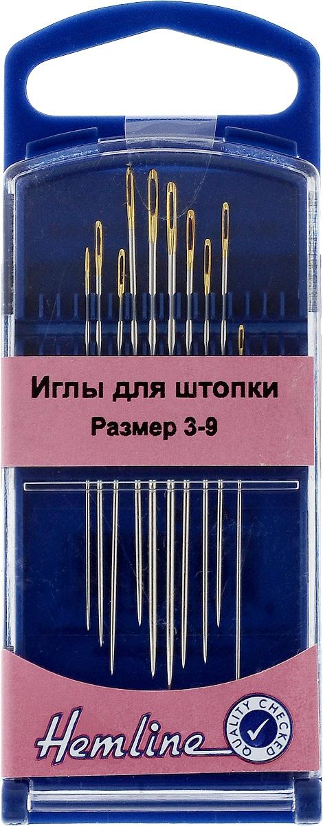 Иглы ручные Hemline, для штопки, №3-9, 10 шт284G.39Ручные иглы для штопки Hemline выполнены из высококачественной стали. Удлиненные иглы с большим ушком и затупленным концом. Усовершенствованные, для многократного применения. Для удобного и безопасного хранения предусмотрен пластиковый контейнер. Размер: №3-9. Длина игл: 4,2-5,5 см.