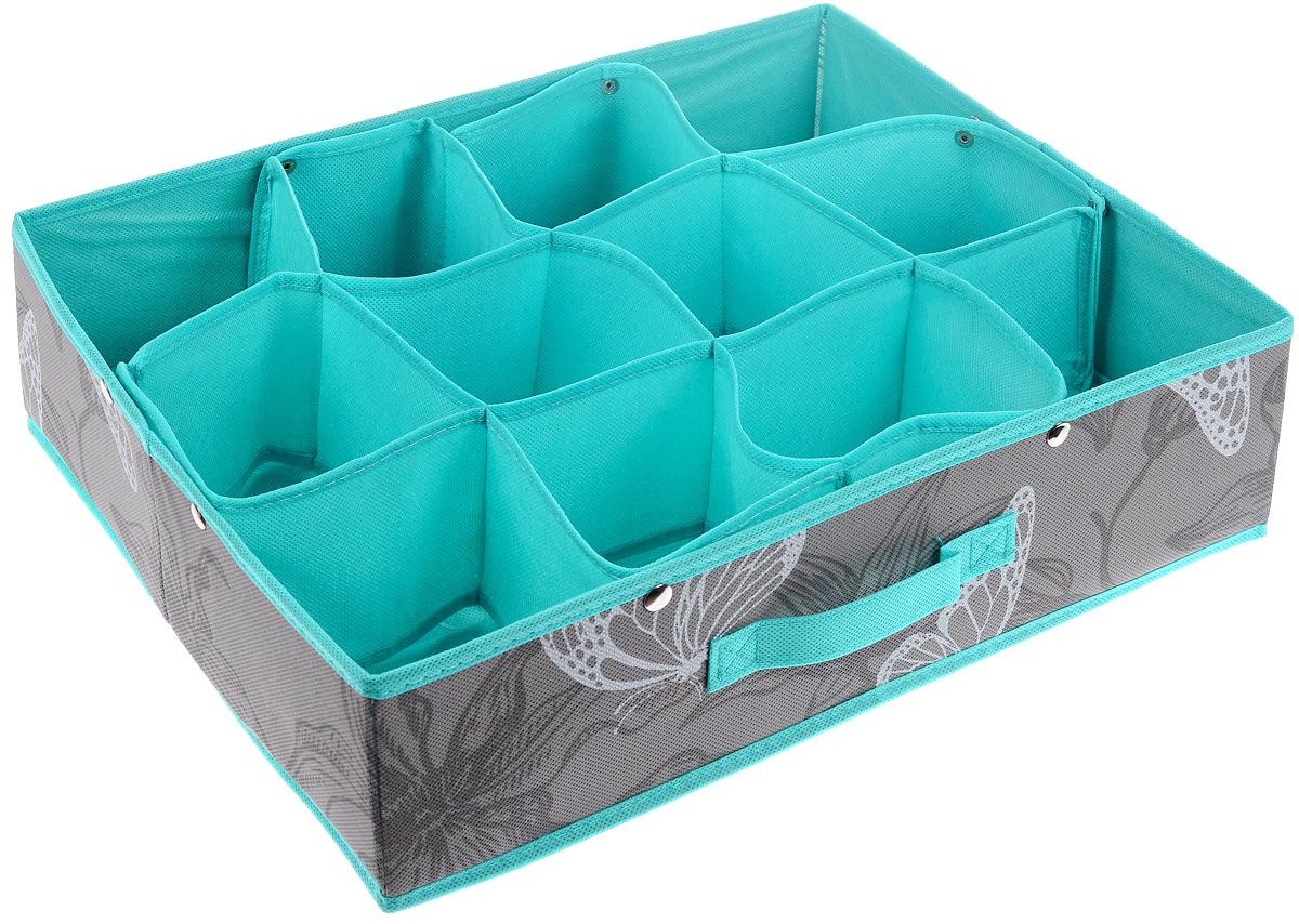 Кофр для хранения Бабочки, 12 секций, 45 х 36 х 12 смFS-6108RКофр для хранения Бабочки изготовлен из высококачественного нетканого полотна, декорированного изображением бабочек. Кофр имеет 12 квадратных секций для хранения бытовых вещей, белья, носков и многого другого. Вставки из картона обеспечивают прочность конструкции. Спереди расположена ручка. Оригинальный принт, модный цвет и качество исполнения сделают такой кофр незаменимым для хранения ваших вещей.