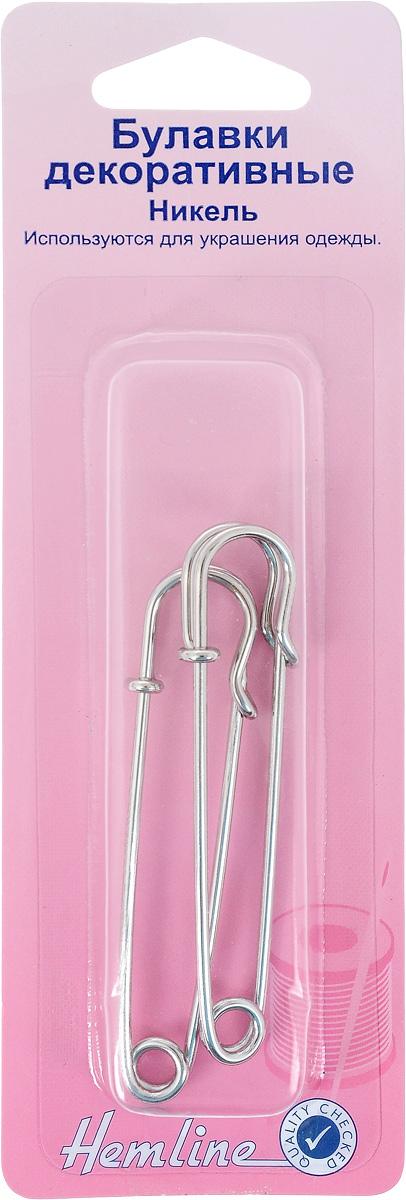 Булавки декоративные Hemline, цвет: никель, 2 шт412Булавки декоративные Hemline изготовлены из металла, используются для украшения одежды. Длина: 7,5 см.