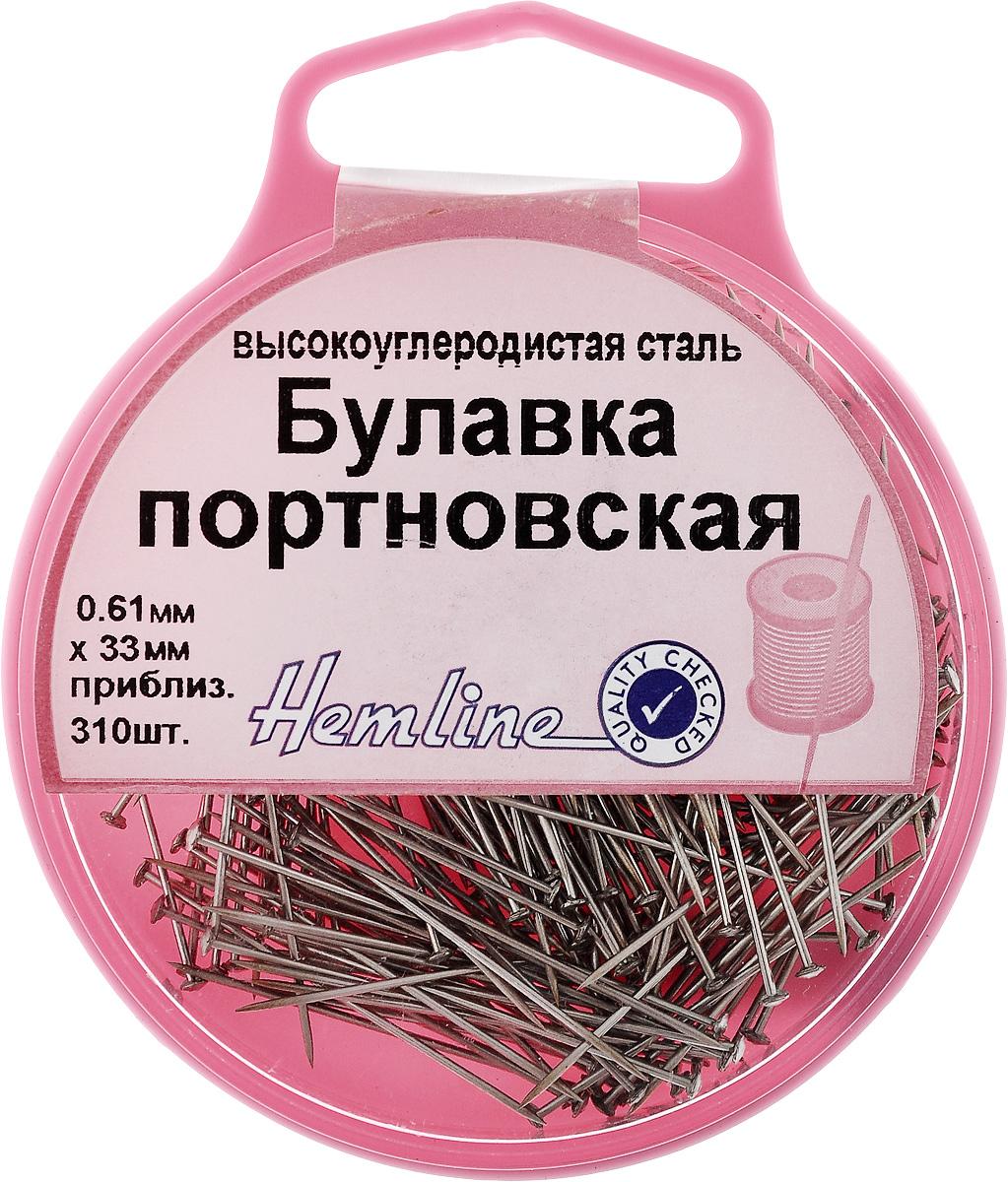 Булавки-гвоздики портновские Hemline, в контейнере, 310 шт716Портновские булавки Hemline изготовлены из высокоуглеродистой стали. Такие булавки отлично подойдут для выполнения потайного шва вручную, при пошиве и примерке одежды, часто используются при раскрое ткани, а также для стачивания деталей кроя на швейной машинке. Для удобного и безопасного хранения предусмотрен круглый пластиковый контейнер. Такие булавки станут полезным приобретением для любой рукодельницы. Толщина булавки: 0,61 мм. Длина булавки: 33 мм.