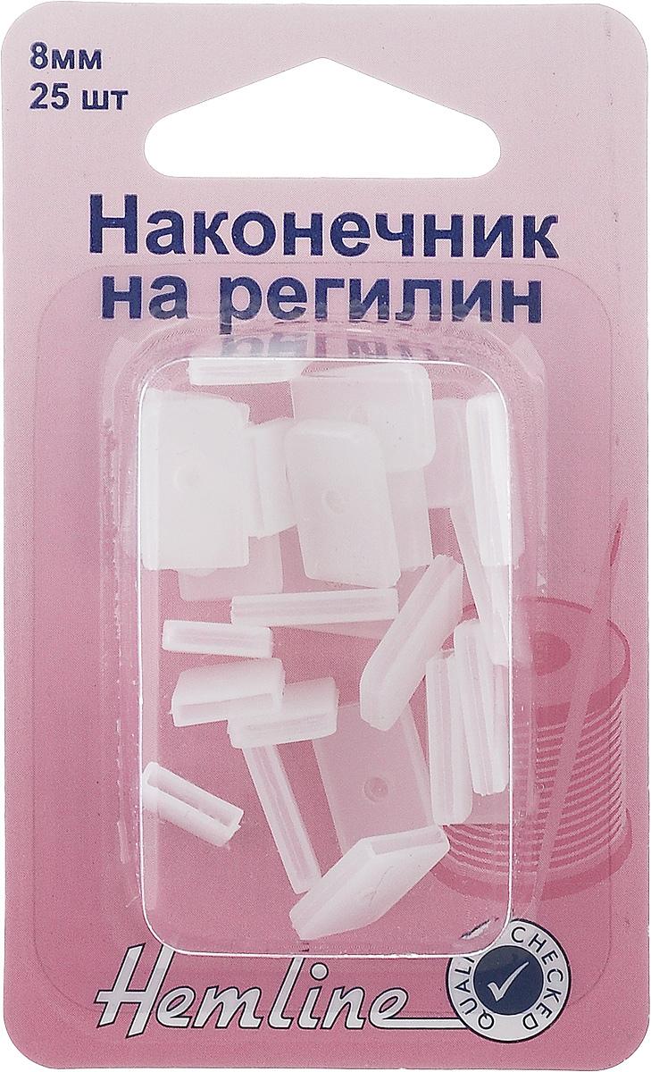 Наконечник на регилин Hemline, 8 мм, 25 шт696EC.8Наконечники на регилин Hemline, выполненные из пластика, надеваются на конец регилина или концы корсетных конструкций для защиты кожи от повреждений. Ширина наконечника: 8 мм.