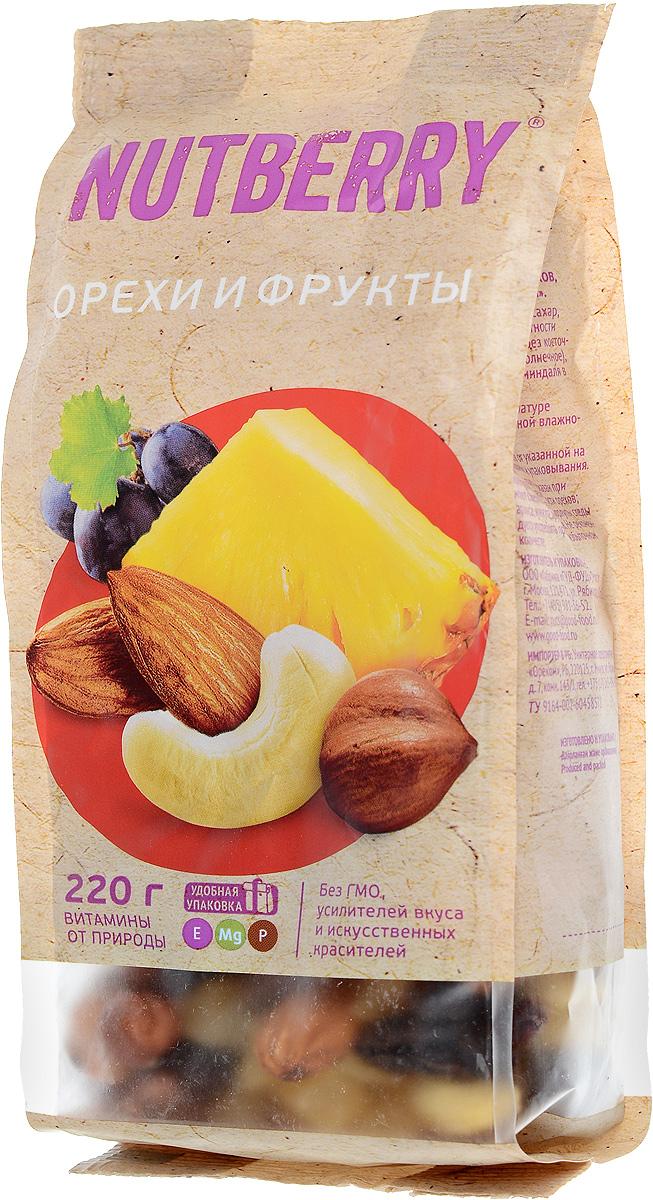 Nutberry смесь орехов и фруктов, 220 г4620000676157Смесь Орехи и фрукты это идеально сбалансированное сочетание только натуральных компонентов. Благородный вкус темного винограда сорта Томпсон Джамбо идеально дополняет вкусовую композицию миндаля, кешью и фундука, а кусочки натурального, сушеного ананаса придают данной смеси неповторимость.