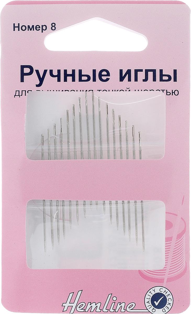 Иглы ручные Hemline, для вышивания тонкой шерстью, №8, 16 шт200.8Ручные иглы Hemline, выполненные из высококачественной стали, предназначены для вышивания мулине и тонкой шерстью в технике гладь. Имеют острый кончик и удлиненное ушко. Размер: №8. Длина игл: 3,5 см.