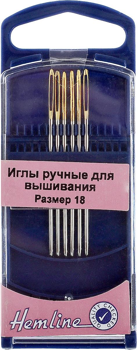 Иглы ручные для вышивания Hemline, с закругленным кончиком, №18, 6 шт283G.18Ручные иглы для вышивания Hemline выполнены из высококачественной стали. Закругленный кончик игл при вышивании не рвет канву. Специальное увеличенное ушко позволяет продевать пряжу для вышивания и толстые нити. Усовершенствованные, для многократного применения. Для удобного и безопасного хранения предусмотрен пластиковый контейнер. Размер: №18. Длина игл: 4,8 см.