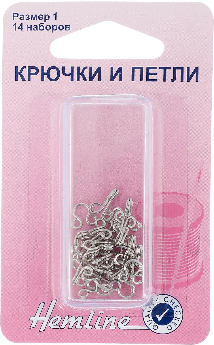 Крючки и петли Hemline, размер 1, 14 пар400.1Крючки и петли Hemline выполнены из прочного металла. Пришивные, используются для изготовления и ремонта легкой верхней одежды. В комплекте - 14 пар крючков и петель. Изделия упакованы в специальный пластиковый контейнер многоразового использования.