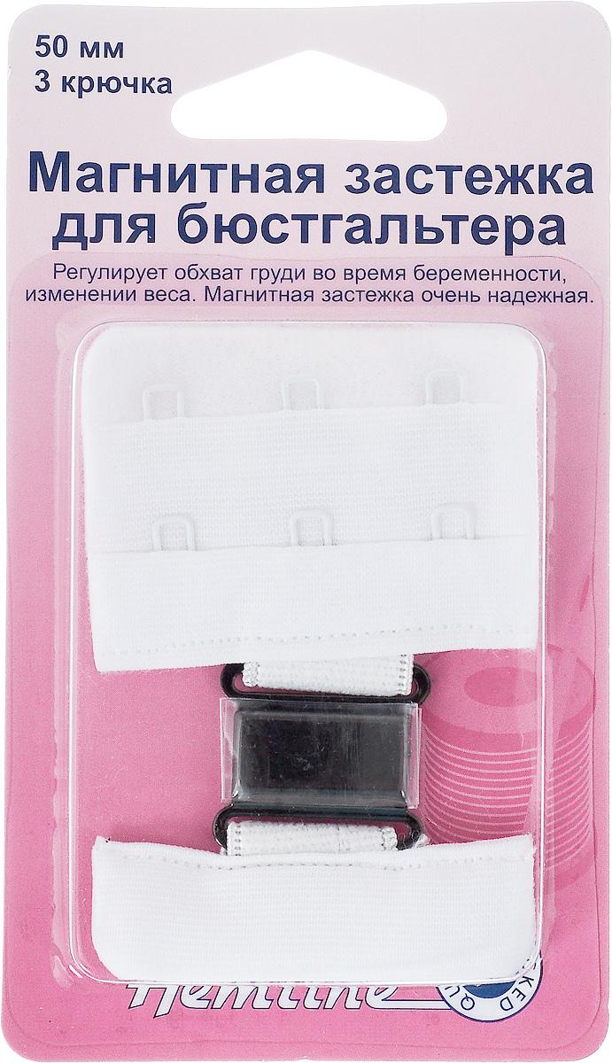 Магнитная застежка для бюстгальтера Hemline, 3 крючка, цвет: белый, ширина 50 мм777.50.WМагнитная застежка для бюстгальтера Hemline изготовлена из текстиля, имеет 2 ряда петелек и 3 металлических крючка. Изделие предназначено для изготовления или ремонта бюстгальтеров. Такая застежка регулирует обхват груди во время беременности или при изменении веса. Застежка легкая и удобная в использовании, не пришивная - благодаря магниту просто достаточно пристегнуть ее. Не подходит для тех, кто носит электронный стимулятор сердца. Ширина: 50 мм. Количество крючков: 3.