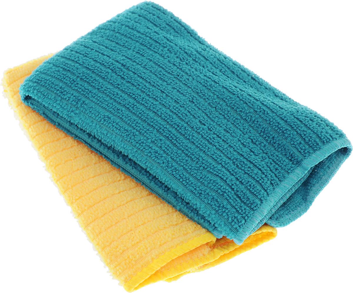 Салфетка из микрофибры Home Queen, цвет: бирюзовый, желтый, 30 х 30 см, 2 шт57048_бирюзовый, желтыйСалфетка Home Queen изготовлена из микрофибры. Это великолепная гипоаллергенная ткань, изготовленная из тончайших полимерных микроволокон. Салфетка из микрофибры может поглощать количество пыли и влаги, в 7 раз превышающее ее собственный вес. Многочисленные поры между микроволокнами, благодаря капиллярному эффекту, мгновенно впитывают воду, подобно губке. Благодаря мелким порам микроволокна, любые капельки, остающиеся на чистящей поверхности, очень быстро испаряются, и остается чистая дорожка без полос и разводов. В сухом виде при вытирании поверхности волокна микрофибры электризуются и притягивают к себе микробы, мельчайшие частицы пыли и грязи, удерживая их в своих микропорах.