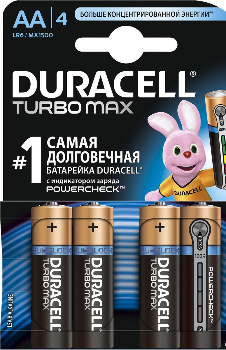 Набор алкалиновых батареек Duracell Turbo Power Check, тип AA, 4 штDRC-81480368Набор алкалиновых батареек Duracell Turbo Power Check предназначен для использования в различных электронных устройствах, например в пультах дистанционного управления, портативных MP3-плеерах, фотоаппаратах, различных беспроводных устройствах. Батарейка Turbo Power Check оснащена индикатором заряда, который позволит вам вовремя заменить старую (севшую) батарейку на новую. Характеристики: Типоразмер: AA (LR6). Тип электролита: щелочной. Выходное напряжение: 1,5 В. Комплектация: 4 шт.