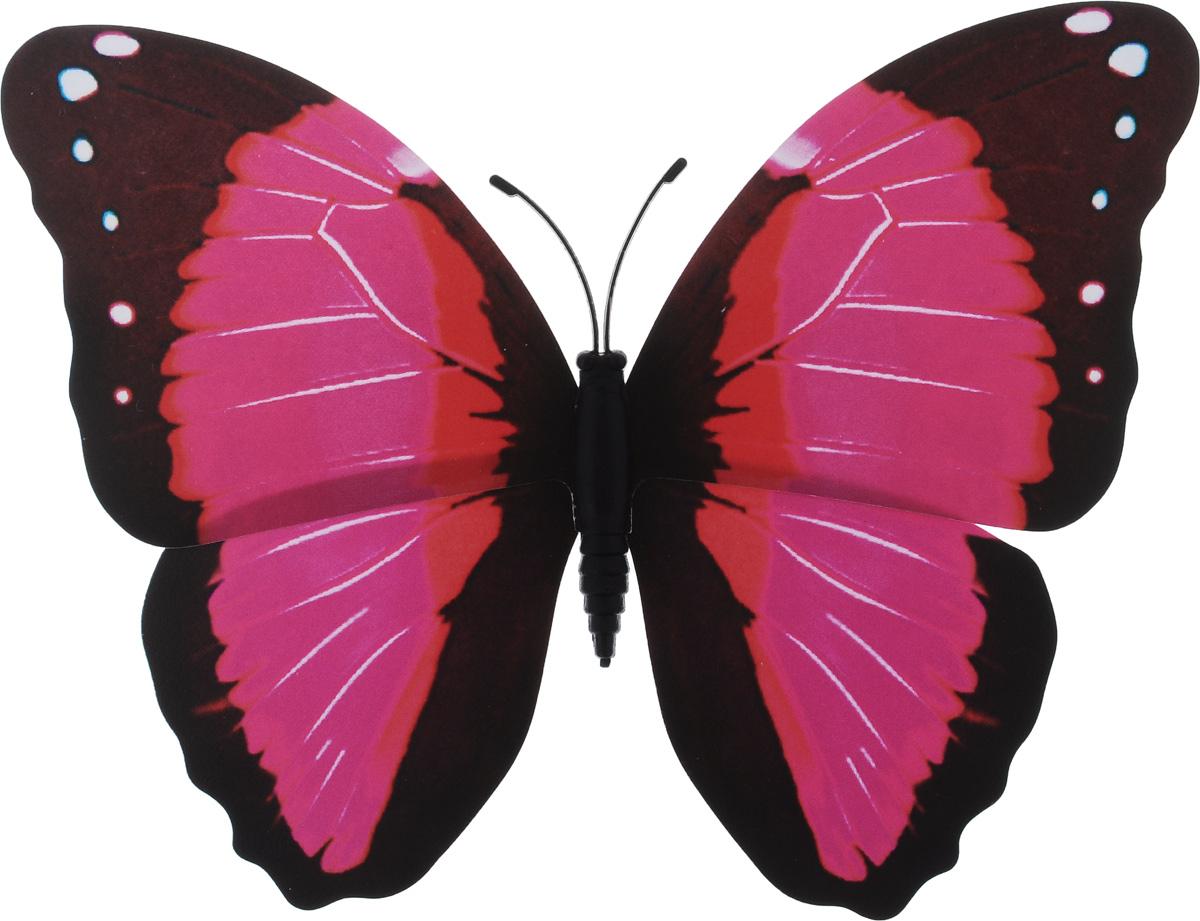 Декоративное украшение Village people Тропическая бабочка, с магнитом, цвет: розовый, коричневый (29), 12 х 8 см68610_29Декоративная фигурка Village People Тропическая бабочка, изготовленная из ПВХ, это не только красивое украшение, но и замечательный способ отпугнуть птиц с грядок: при дуновении ветра бабочка начинает махать крыльями. Изделие выполнено в виде бабочки и оснащено магнитом, с помощью которого вы сможете поместить изделие в любом удобном для вас месте. Яркий дизайн изделия оживит ландшафт сада.