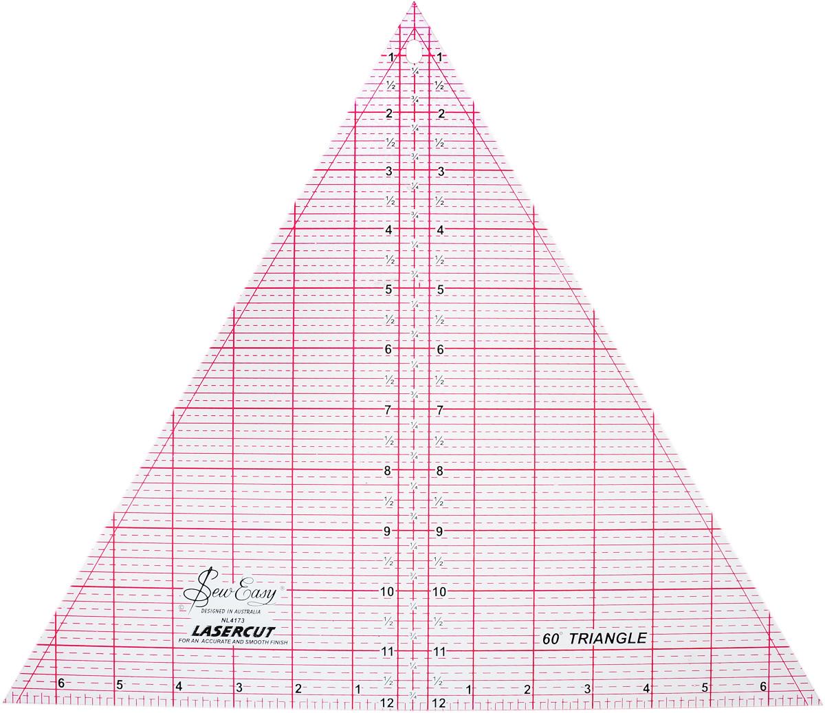Линейка-треугольник для пэчворка Hemline, с углом 60 градусов, 12 x 13 7/8 (30,48 х 35,22 см)NL4173Линейка-треугольник для пэчворка Hemline предназначена для раскроя равносторонних треугольников и ромбов с углом 60°, 6-лучевых звезд и пирамид. Разметка лекала позволяет делать линии с шагом в 1/8 дюйма. Прочный акрил обладает большим сроком службы, а лазерный срез края позволяет делать ровные аккуратные линии. Улучшенная двухцветная разметка со всеми необходимыми размерами делает использование простым и удобным. Размер (в дюймах): 12 x 13 7/8.