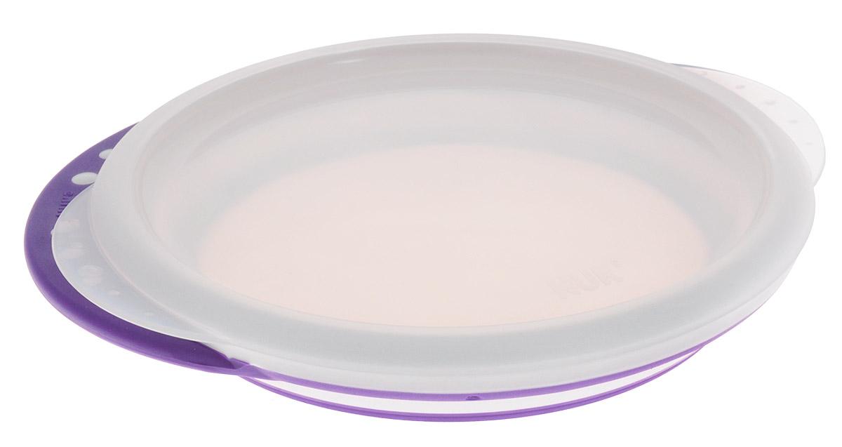 NUK Тарелка детская Easy Learning от 8 месяцев цвет сиреневый10255049_сиреневыйМелкая пластиковая тарелка Easy Learning с удобными нескользкими ручками и крышкой идеальна для приготовления, кормления малыша и самостоятельного приема пищи. Наклонные края тарелки облегчают зачерпывание пищи, а нескользкое дно гарантирует устойчивое положение тарелки на поверхности. Набор состоит из тарелки и крышки. Тарелку можно использовать в микроволновых печах и посудомоечных машинах. Характеристики: Рекомендуемый возраст: от 8 месяцев. Высота стенки тарелки: 3 см. Диаметр по верхнему краю: 17 см..