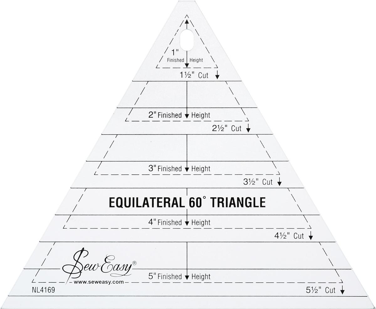 Лекало Hemline, для создания равносторонних треугольников разных размеровNL4169Лекало Hemline, изготовленное из пластика, идеально подходит для раскроя равносторонних треугольников разных размеров и создания блоков. Очень популярно для создания дизайнов звезд. Легко наносить припуски 1/8 дюйма.