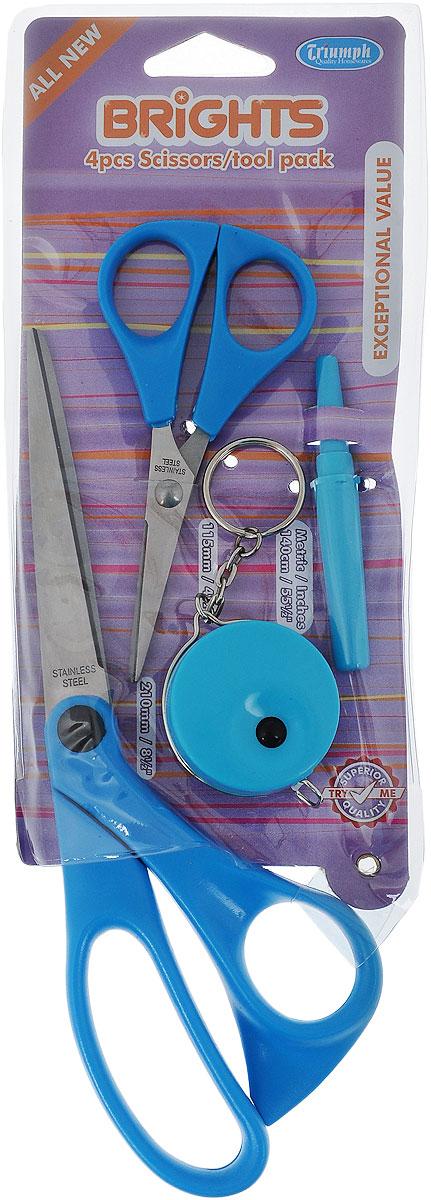 Набор для шитья Hemline, цвет: голубой, 4 предметаB4511.4.BLUEНабор Hemline - это набор для ручного шитья, который содержит все основные инструменты. Такой набор удобно брать с собой, он компактный и не занимает много места. Набор содержит: - портновские ножницы, - вспарыватель, - ножницы для мелких работ, - сантиметр-рулетка. Лезвия ножниц изготовлены из высококачественной стали, а ручки - из пластика. Длина портновских ножниц: 21 см. Длина лезвий портновских ножниц: 9 см. Длина ножниц для мелких работ: 11,5 см. Длина лезвий ножниц для мелких работ: 5,2 см. Диаметр сантиметра-рулетки: 4 см. Длина вспарывателя: 8 см.