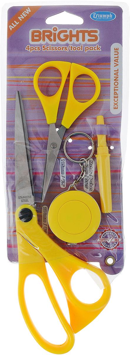 Набор для шитья Hemline, цвет: желтый, 4 предметаB4511.4.YELLOWНабор Hemline - это набор для ручного шитья, который содержит все основные инструменты. Такой набор удобно брать с собой, он компактный и не занимает много места. Набор содержит: - портновские ножницы, - вспарыватель, - ножницы для мелких работ, - сантиметр-рулетка. Лезвия ножниц изготовлены из высококачественной стали, а ручки - из пластика. Длина портновских ножниц: 21 см. Длина лезвий портновских ножниц: 9 см. Длина ножниц для мелких работ: 11,5 см. Длина лезвий ножниц для мелких работ: 5,2 см. Диаметр сантиметра-рулетки: 4 см. Длина вспарывателя: 8 см.