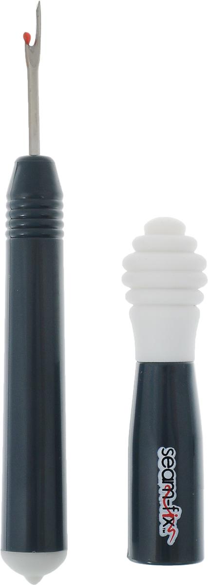 Вспарыватель Hemline Seam-Fix, с устройством для сборки нитей, цвет: серыйSeam-Fix/1001/серыйВспарыватель Hemline Seam-Fix используется для быстрого распарывания швов и аккуратного прорезания петель для пуговиц. Круглый наконечник на другой стороне вспарывателя предназначен для сбора нитей с деталей. Вспарыватель снабжен колпачком для безопасного хранения. Длина вспарывателя: 12 см. Длина вспарывателя (с учетом колпачка): 13 см.
