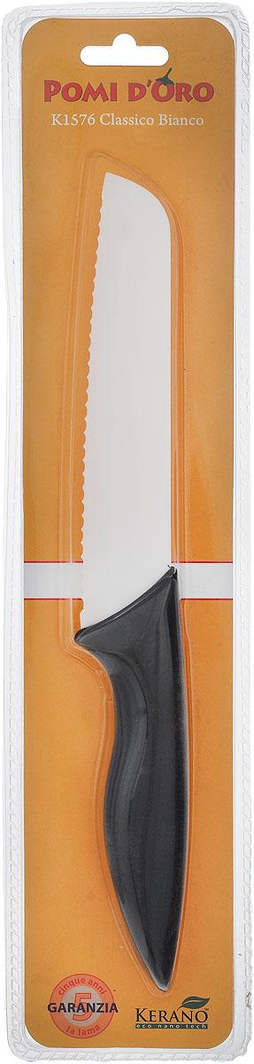 Нож для хлеба Pomi d'Oro Classico, керамический, длина лезвия 15 см77.858@19759 / K1576 Classico BiancoНож Pomi d'Oro Classico изготовлен из высококачественной белой керамики Kerano - гигиеничного, экологически чистого материала. Нож имеет острое лезвие, не требующее дополнительной заточки. Эргономичная рукоятка, выполненная из стали с прорезиненным покрытием, не скользит в руках и делает резку удобной и безопасной. Такой нож превосходно подходит для нарезки всех видов хлеба. Керамика - это отличная альтернатива металлу. В отличие от стальных ножей, керамические ножи не переносят ионы металла в пищу, не разрушаются от кислот овощей и фруктов и никогда не заржавеют. Нож Pomi dOro Classico станет прекрасным дополнением к коллекции ваших кухонных аксессуаров и не займет много места при хранении. Можно мыть в посудомоечной машине. Общая длина ножа: 27,5 см. Толщина лезвия: 2 мм.