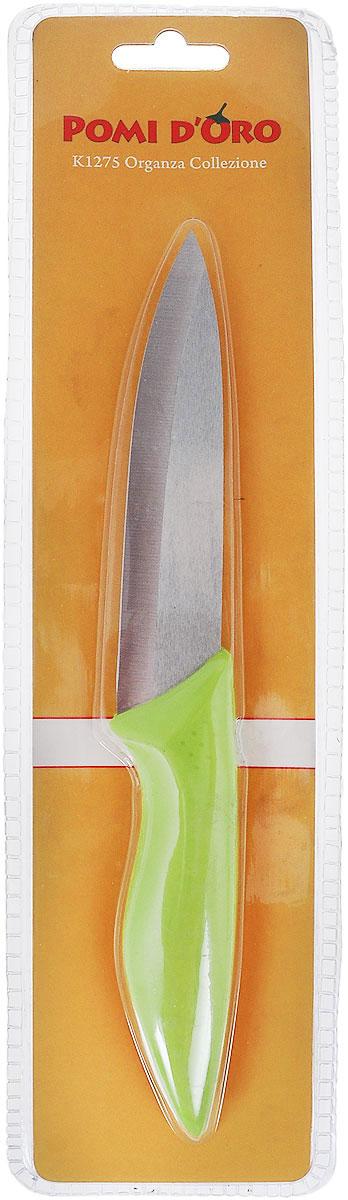 Нож универсальный Pomi d'Oro Organza, керамический, цвет: серебристый, салатовый, длина лезвия 12 см77.858@23617 / K1275 OrganzaНож Pomi dOro Organza изготовлен из керамики Kerano. Kerano - это уникальный керамический нано-материал, который не содержит вредные примеси, в том числе перфоктановую кислоту (PTFE) и примеси, используемые для легированной стали. Материал изделия не вступает в реакцию с пищей во время готовки. Изделие имеет эргономичную обрезиненную ручку, которая не скользит в руках и делает резку удобной и безопасной. Можно мыть в посудомоечной машине. Длина ножа: 23 см.