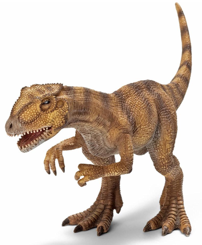 Schleich Фигурка Аллозавр14513Аллозавры были достаточно крупными животными, достигавшими в длину в среднем семи метров. Особи аллозавра имели очень большой и крепкий череп, оснащенный несколькими десятками очень острых зубов, тяжелый длинный хвост, а на сравнительно небольших коротких передних лапах располагались по три крупных загнутых когтя. Аллозавры - хищные животные, которые обычно охотились стаями, передвигаясь на двух мощных задних ногах. Аллозавры - это доисторические животные из рода ящеротазовых динозавров. Эти динозавры жили в доисторические времена в юрском периоде. В переводе с латинского языка Allosaurus означает иной ящер. Фигурка Schleich Аллозавр имеет подвижную нижнюю челюсть.