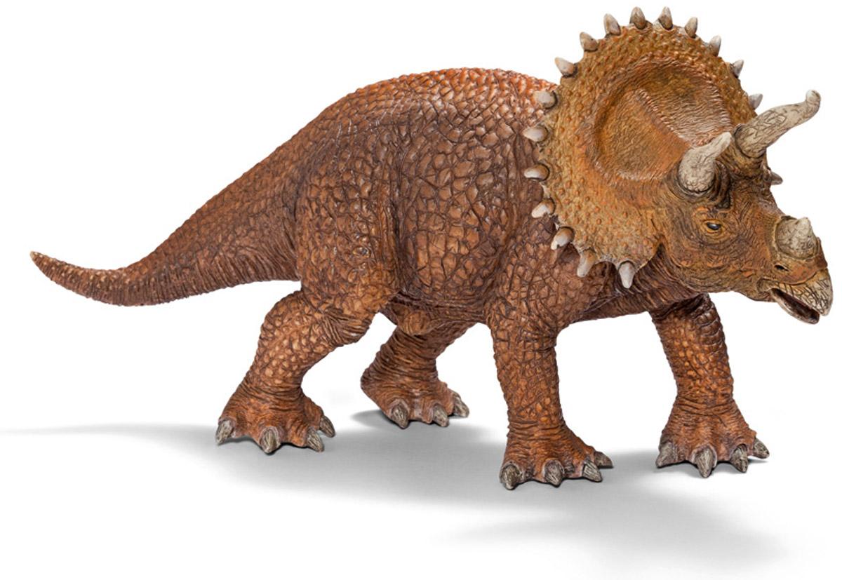 Schleich Фигурка Трицератопс 1452214522Трицератопс получил свое название от трех древнегреческих слов, которые переводятся на русский язык как три, рог, морда, лицо. Действительно, эти животные имели три рога на голове, ходили на четырех тяжелых толстых ногах и имели хвост. Широкую известность эти динозавры получили благодаря костяному воротнику сравнительно больших размеров. До сих пор неизвестно, для каких целей трицератопс применял свои рога. Фигурка Schleich Трицератопс выполнена из качественного каучукового пластика и раскрашена вручную.