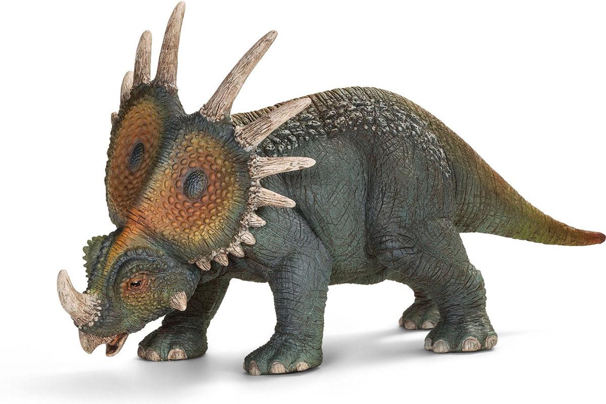 Schleich Фигурка Стиракозавр14526Стиракозавр - динозавр, достигавший в длину 5,5 метров и имевший невероятно внушительный череп с колючим воротником и рогом. Рог на носу динозавра мог доходить до 50 см в длину. Стиракозавр обитал во времена Мелового периода. Несмотря на то, что воротник динозавра выглядит очень прочно, предполагается, что он был слишком тонким для действенной обороны. Фигурка Schleich Стиракозавр, раскрашенная вручную, выполнена из безопасного материала - пластика. Игрушка знакомит детей с окружающей средой, развивает творческую натуру.