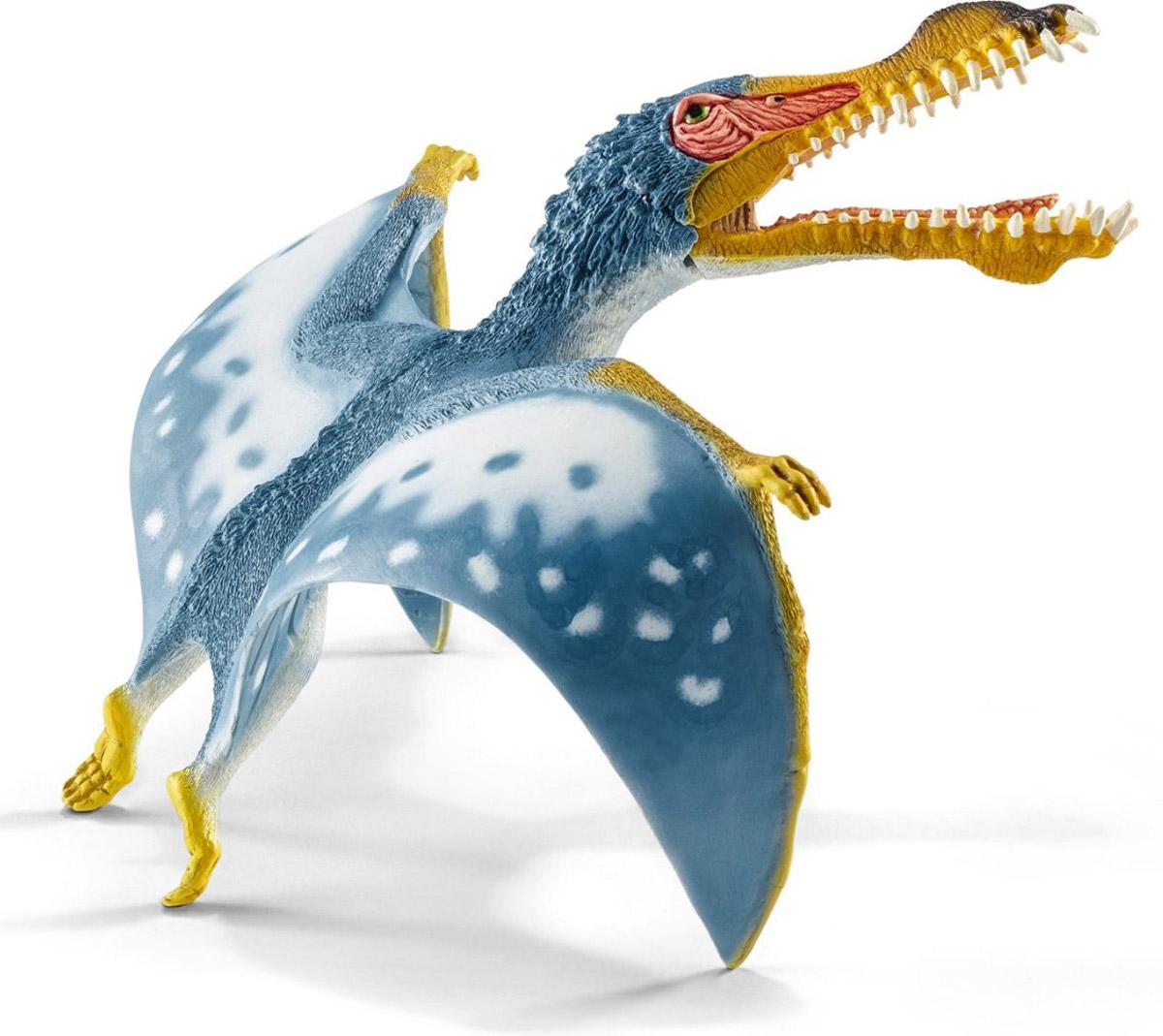 Schleich Фигурка Анхангера14540Древнее животное анхангера представлено в виде фигурки птерозавра и непременно порадует маленьких любителей динозавров своей реалистичностью. Этот птерозавр имеет узкое тело и очень широкие крылья. Их размах доходил до четырех метров. У этого динозавра длинный череп, похожий на голову крокодила, а также длинные острые зубы. Фигурка Schleich Анхангера выполнена из качественного каучукового пластика, который безопасен для детей и не вызывает аллергию. Фигурка станет достойным пополнением красочной коллекции, которая восхищает детей и взрослых. Нижняя челюсть фигурки подвижная.