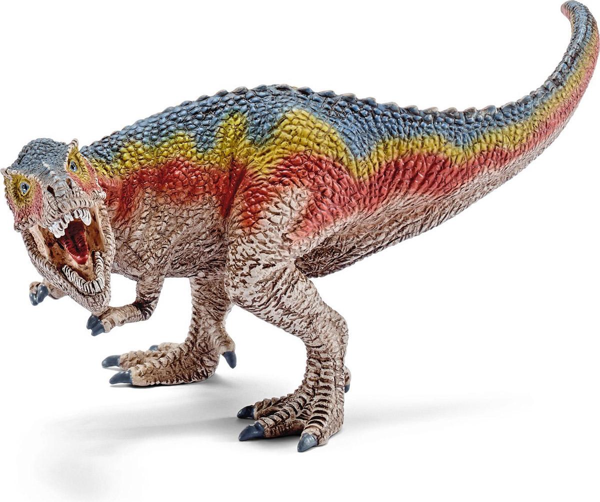 Schleich Фигурка Тираннозавр Рекс 1454514545Древний динозавр - тираннозавр Рекс, проживающий на земле много миллионов лет назад, представлен немецкой компанией Schleich в виде стоящего на задних лапах динозавра светло-коричневого цвета. Тираннозавр отличается от своих сородичей длинным хвостом и мощными лапами, которые помогают ему находить пищу и сражаться с врагами. Игрушка динозавра выполнена из качественного каучукового пластика, который безопасен для детей и не вызывает аллергию.