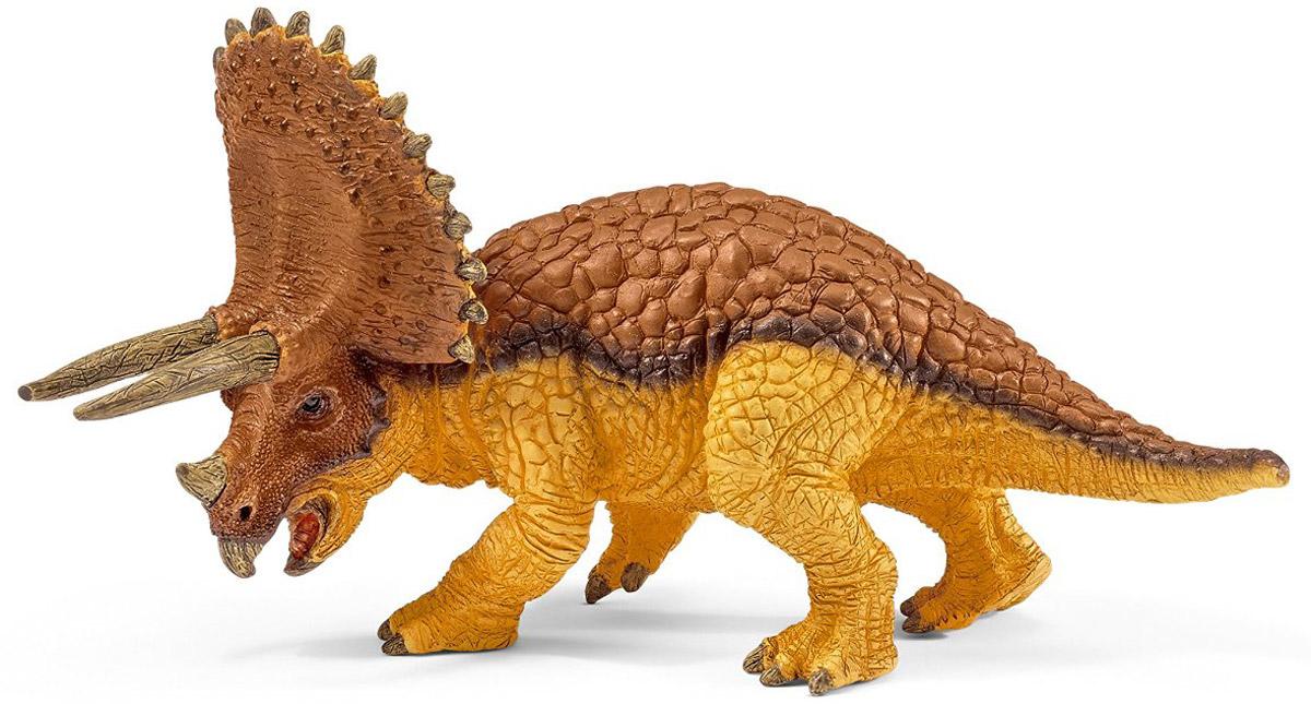 Schleich Фигурка Трицератопс 1454914549Древний трицератопс, проживавший на земле много миллионов лет назад, представлен в виде идущего на четырех лапах динозавра коричневого цвета. Трицератопс - травоядное животное. Его челюсть представляет собой своеобразный клюв, который удобно использовать для разделения растительной пищи. Игрушка динозавра выполнена из качественного каучукового пластика, который безопасен для детей и не вызывает аллергию. Фигурка Schleich Трицератопс станет достойным пополнением красочной коллекции игрушек.